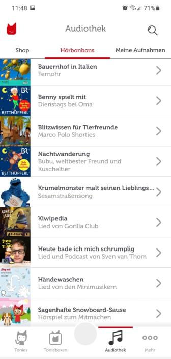 Screenshot meinetonies App Audiothek