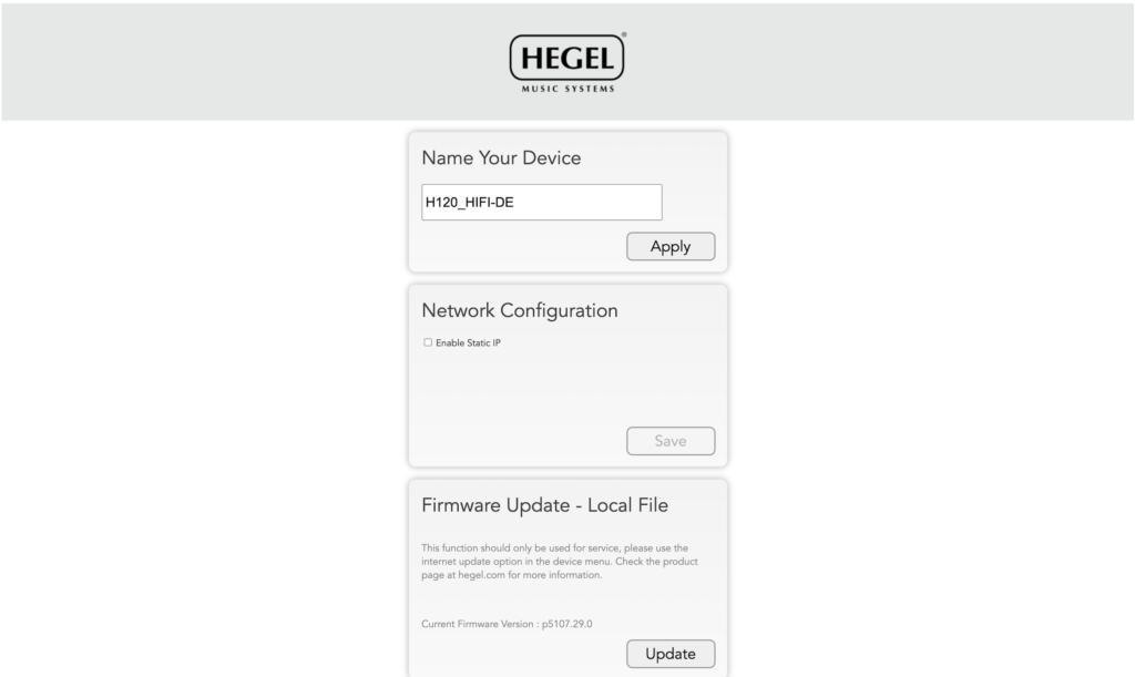 Webinterface des Hegel H120