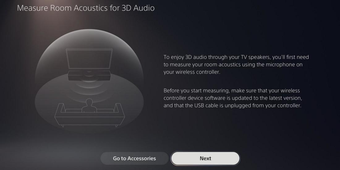 Einstellmenü für 3D-Audio auf PS5