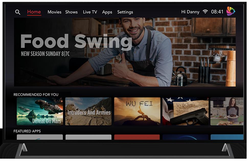 Das Design der Benutzeroberfläche von River OS erinnert ein wenig an Google TV.