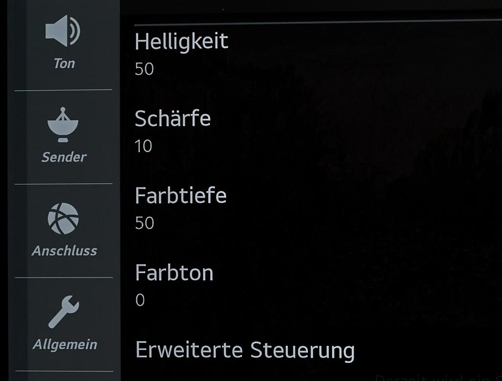 LG OLED Schärfe-Einstellungen